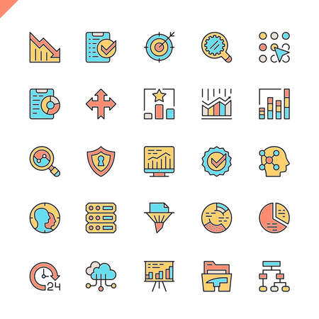 Flat line data analysis, statistics, analytics icons set for website and mobile site and apps. Outline icons design. 48x48 Pixel Perfect. Linear pictogram pack. Vector illustration. Illustration