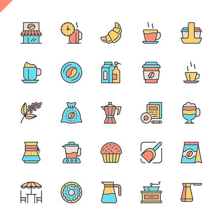 Flat line coffee, coffee house, coffee shop elements icons set for website and mobile site and apps. Outline icons design. 48x48 Pixel Perfect. Linear pictogram pack. Vector illustration.