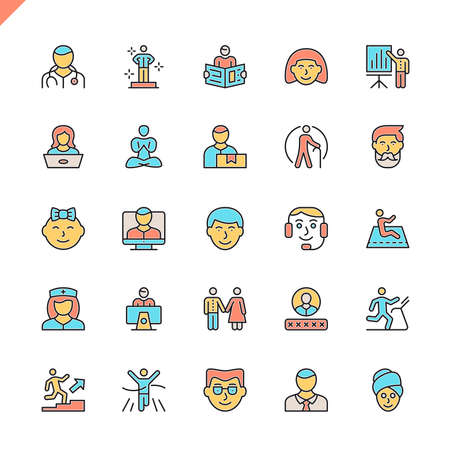 Flat line people icons set for website and mobile site and apps. Outline icons design. 48x48 Pixel Perfect. Linear pictogram pack. Vector illustration.