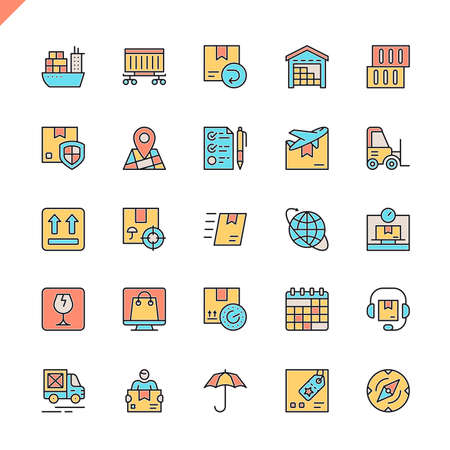 Flat line logistics, delivery, transportation icons set for website and mobile site and apps. Outline icons design. 48x48 Pixel Perfect. Linear pictogram pack. Vector illustration.