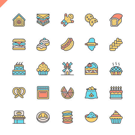 Flat line bakery shop elements icons set for website and mobile site and apps. Outline icons design. 48x48 Pixel Perfect. Linear pictogram pack. Vector illustration.