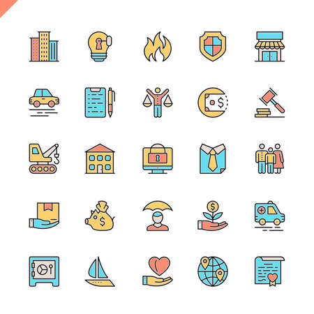 Flat line insurance icons set for website and mobile site and apps. Outline icons design. 48x48 Pixel Perfect. Linear pictogram pack. Vector illustration.