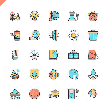 Flat line ecology icons set for website and mobile site and apps. Outline icons design. 48x48 Pixel Perfect. Linear pictogram pack. Vector illustration.