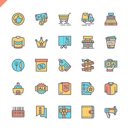 Flat line shopping malls, retail icons set for website and mobile site and apps. Outline icons design. 48x48 Pixel Perfect. Linear pictogram pack. Vector illustration.