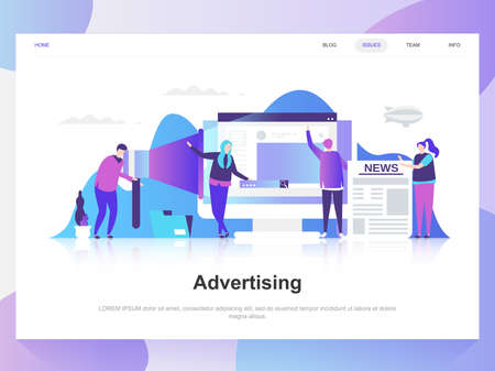 Advertising and promo modern flat design concept. Landing page template. Modern flat vector illustration concepts for web page, website and mobile website. Easy to edit and customize.  イラスト・ベクター素材