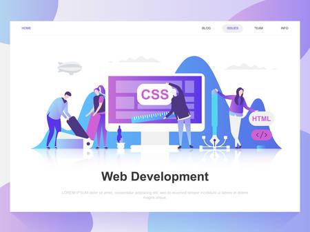 Modernes flaches Designkonzept der Webentwicklung. Landingpage-Vorlage. Moderne flache Vektorillustrationskonzepte für Webseite, Website und mobile Website. Einfach zu bearbeiten und anzupassen.