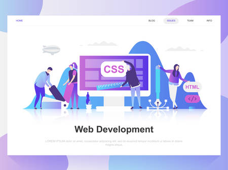 Web development modern flat design concept. Landing page template. Modern flat vector illustration concepts for web page, website and mobile website. Easy to edit and customize.