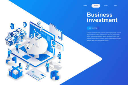 Business investment modern flat design isometric concept. Money and people concept. Landing page template. Conceptual isometric vector illustration for web and graphic design. Vectores