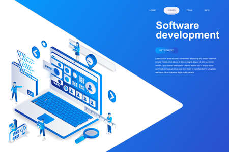 Software development modern flat design isometric concept. Developer and people concept. Landing page template. Conceptual isometric vector illustration for web and graphic design.