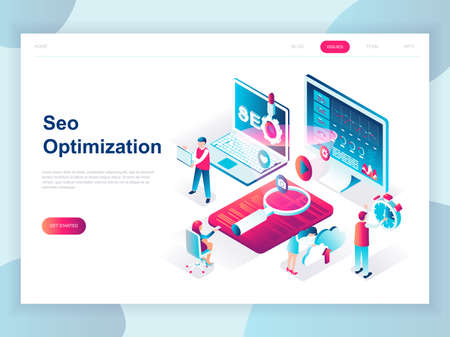 Modern flat design isometric concept of SEO Analysis for banner and website. Isometric landing page template. Search engine optimization, strategies and marketing. Vector illustration.