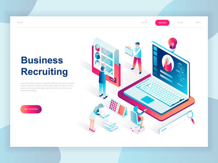 Modern flat design isometric concept of Business Recruiting for banner and website. Isometric landing page template. Employer, businessman resources, hr job presentation. Vector illustration. Illustration