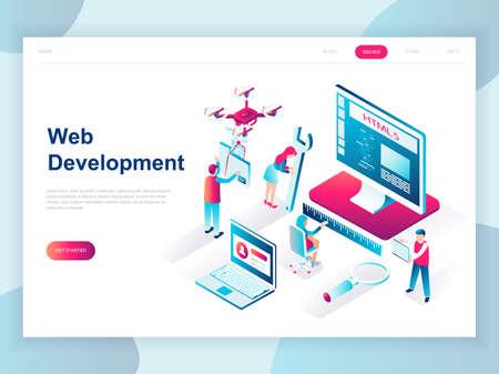 Concept isométrique de design plat moderne de développement Web pour bannière et site Web. Modèle de page de destination isométrique. Logiciel de codage de développeur et site Web de programmation. Illustration vectorielle. Vecteurs