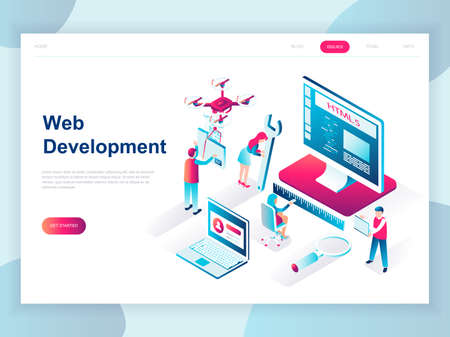 Modern flat design isometric concept of Web Development for banner and website. Isometric landing page template. Developer coding software and programming web site. Vector illustration. 向量圖像
