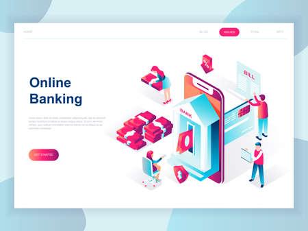 Concepto isométrico de diseño plano moderno de la banca en línea para banner y sitio web. Plantilla de página de destino isométrica. Pago electrónico bancario o atención al cliente. Ilustración de vector.
