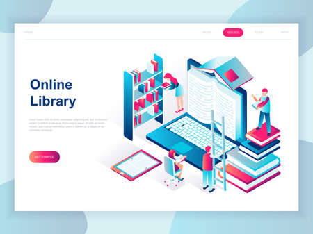 Modern flat design isometric concept of Online Library for banner and website. Isometric landing page template. Technology and literature, digital culture on media library. Vector illustration. Ilustración de vector