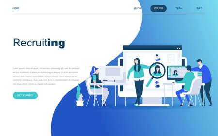Modern flat design concept of Business Recruiting for website and mobile website development. Landing page template. Employer, businessman resources, hr job presentation. Vector illustration.