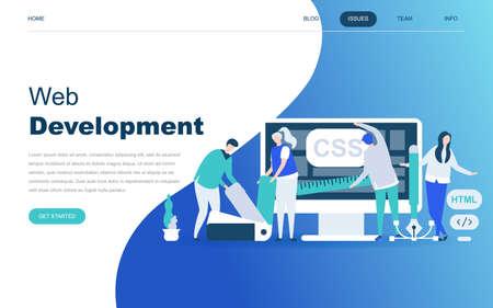 Modernes flaches Designkonzept der Webentwicklung für die Entwicklung von Websites und mobilen Websites. Landingpage-Vorlage. Entwickler-Codierungssoftware und Programmierwebsite. Vektorillustration. Vektorgrafik