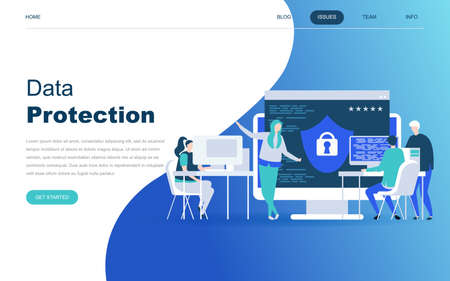 Modern flat design concept of Data Protection for website and mobile website development. Landing page template. Credit card check and software access data as confidential. Vector illustration.