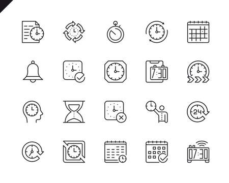 Simple Set of Time Related Vector Line Icons. Linear Pictogram Pack. Editable Stroke. 48x48 Pixel Perfect Icons. Ilustração