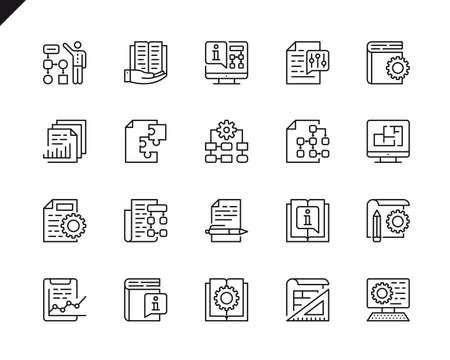 Einfacher Satz von Vektorzeilensymbolen für die technische Dokumentation. Lineares Piktogrammpaket. Bearbeitbarer Strich. 48x48 Pixel perfekte Symbole.