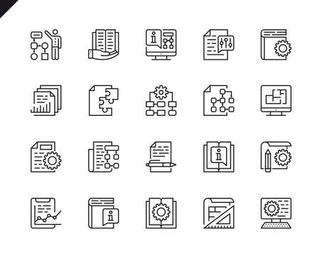 Simple Set of Technical Documentation Related Vector Line Icons. Linear Pictogram Pack. Editable Stroke. 48x48 Pixel Perfect Icons.
