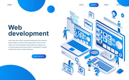 Modern isometric design concept of Web Development for website and mobile website development. Isometric landing page template. Developer coding software and programming web site. Vector illustration.