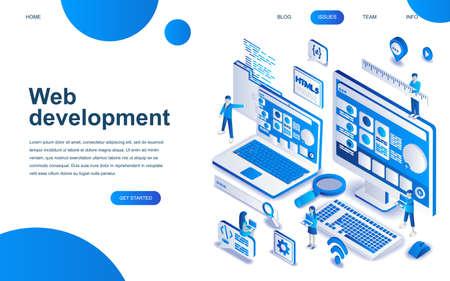 Modernes isometrisches Designkonzept der Webentwicklung für die Entwicklung von Websites und mobilen Websites. Isometrische Zielseitenvorlage. Entwickler-Codierungssoftware und Programmierwebsite. Vektorillustration.