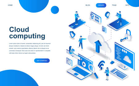 Modern isometric design concept of Cloud Technology for website and mobile website development. Isometric landing page template. Cloud computing service data backup storage. Vector illustration.