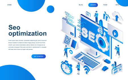 Modern isometric design concept of SEO Analysis for website and mobile website development. Isometric landing page template. Search engine optimization, strategies and marketing. Vector illustration.