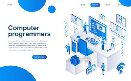Modern isometric design concept of Computer Programmers for website and mobile website development. Isometric landing page template. Developer of project team of engineers. Vector illustration.