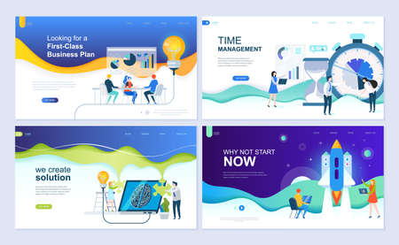 Set of landing page template for business solutions, startup, time management, planning. Modern vector illustration flat concepts decorated people character for website and mobile website development. Фото со стока - 110471233