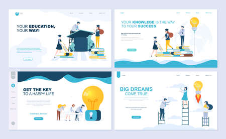 Set of landing page template for staff education, consulting, college, education app. Modern vector illustration flat concepts decorated people character for website and mobile website development. Illusztráció