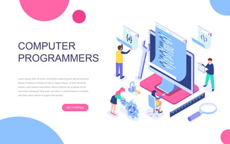 Modern flat design isometric concept of Computer Programmers for banner and website. Isometric landing page template. Developer of project team of engineers for website coding. Vector illustration. Vectores