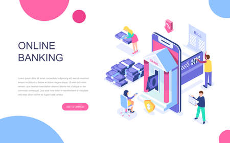 Modern flat design isometric concept of Online Banking for banner and website. Isometric landing page template. Electronic bank payment or customer support. Vector illustration. Vektoros illusztráció