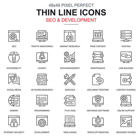 Thin line seo and development icons set for website and mobile site and apps. Contains such Icons as Hosting, Research, Programming. 48x48 Pixel Perfect. Linear pictogram pack. Vector illustration.