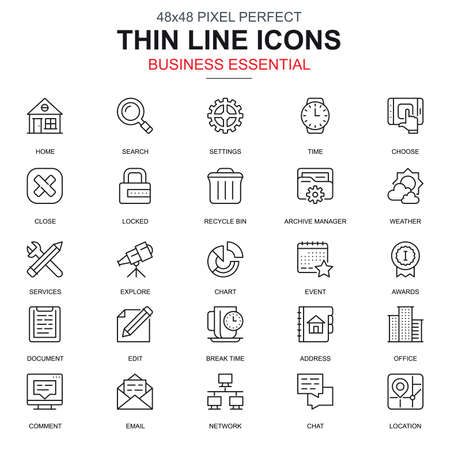 Thin line business essential, communication and office icons set for website and mobile site apps. Contains such Icons as Chart, Award. 48x48 Pixel Perfect. Linear pictogram pack. Vector illustration.