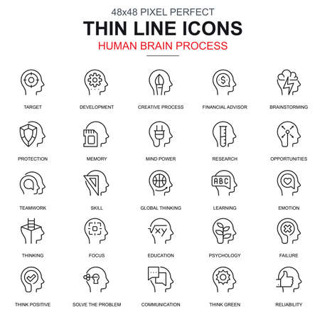 Thin line human brain process, features icons set for website and mobile site and apps. Contains such Icons as Target, Skill. 48x48 Pixel Perfect. Linear pictogram pack. Vector illustration.