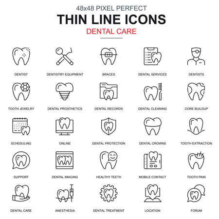 Thin line dental care, dentistry equipment icons set for website and mobile site and apps. Contains such Icons as Dentist, Braces. 48x48 Pixel Perfect. Linear pictogram pack. Vector illustration. Vectores