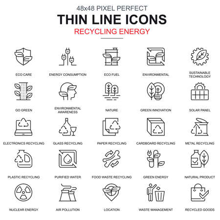 Thin line recycling, environmental protection, icons set for website and mobile site apps. Contains such Icons as Eco, Innovation. 48x48 Pixel Perfect. Linear pictogram pack. Vector illustration. Illusztráció