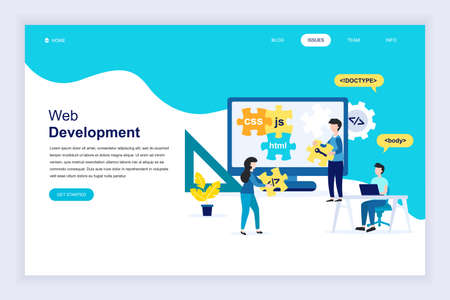 Modern flat design concept of Web Development for website and mobile website development. Landing page template. Developer coding software and programming web site. Vector illustration.