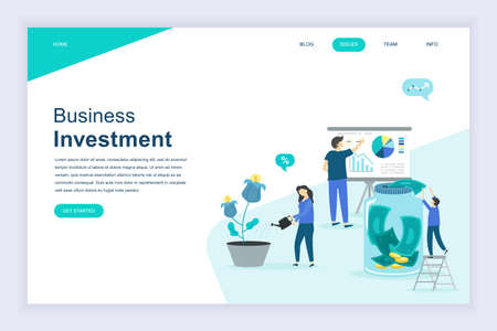 Modern flat design concept of Business Investment for website and mobile website development. Landing page template. Analysis of sales, statistic growth data. Vector illustration. 向量圖像