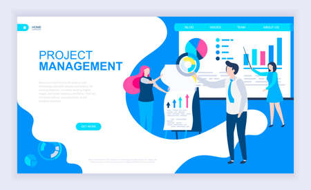 Modern flat design concept of Project Management with decorated small people character for website and mobile website development. UI and UX design. Landing page template. Vector illustration. Ilustrace