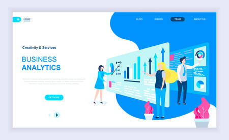 Modern flat design concept of Business Analytics with decorated small people character for website and mobile website development. UI and UX design. Landing page template. Vector illustration. Иллюстрация