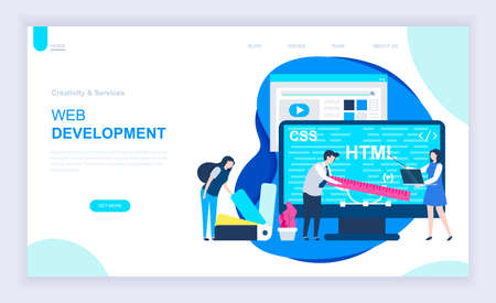Modern flat design concept of Web Development with decorated small people character for website and mobile website development. UI and UX design. Landing page template. Vector illustration. Векторная Иллюстрация