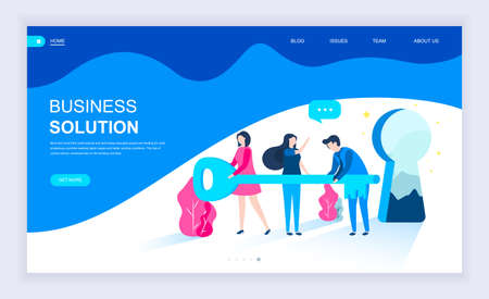 Modern flat design concept of Business Solution with decorated small people character for website and mobile website development. UI and UX design. Landing page template. Vector illustration.