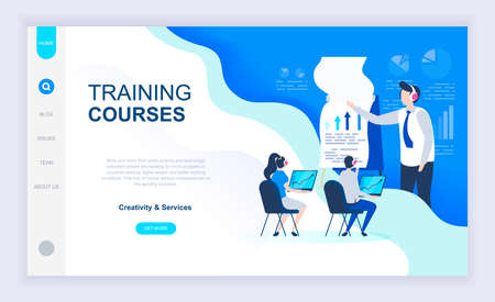 Modern flat design concept of Training Courses with decorated small people character for website and mobile website development. UI and UX design. Landing page template. Vector illustration. Çizim