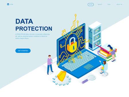 El concepto isométrico de diseño plano moderno de protección de datos decoró el carácter de las personas para el desarrollo de sitios web y sitios web móviles. Plantilla de página de destino isométrica. Ilustración de vector.