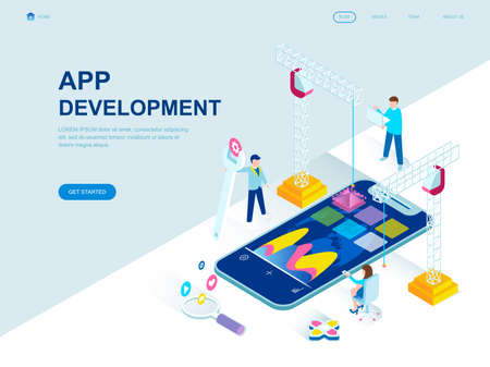 Modern flat design isometric concept of App Development decorated people character for website and mobile website development. Isometric landing page template. Vector illustration. Vetores