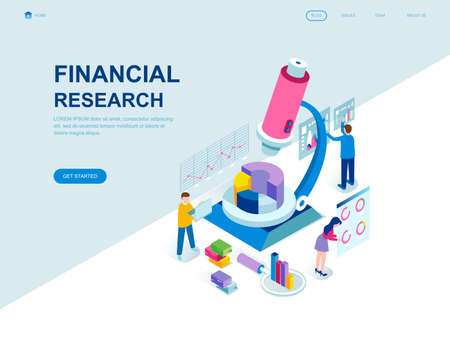 Modern flat design isometric concept of Financial Research decorated people character for website and mobile website development. Isometric landing page template. Vector illustration.