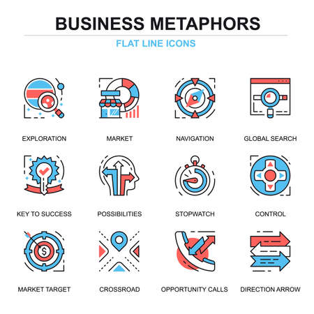 Flat line business process icons concepts set for website and mobile site and apps. Solution finding, market strategy tactics. Thin line color simple pictogram pack. Vector illustration.